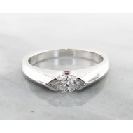 White Gold Marquise Diamond Ring, Sleek East to West