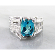 Paraiba Topaz Silver Ring, Tree Trunk