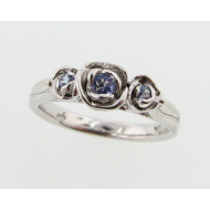 Tanzanite Sterling Silver Ring, Three Roses