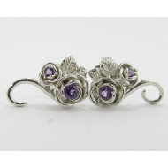 Rosebud & Vine Earrings, Amethyst & Silver