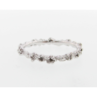 Rosebud & Leaf Band - 14k White