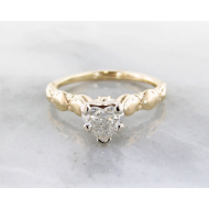 Diamond Yellow Gold Solitaire, Heart Shape