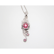 Rose Cascade Necklace, Sterling Silver & Pink Topaz