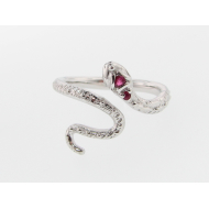 Garden Snake Ring, Sterling Silver & Ruby