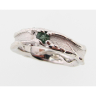 Green Tourmaline Silver Band, Medium Melted