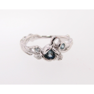 Blue Topaz Silver Rose Ring, Mixed Embellished Garden