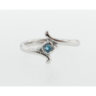 Rosebud Ring, Swiss Blue & Sterling Silver