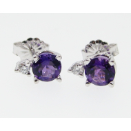 Amethyst Earring Studs, White Gold