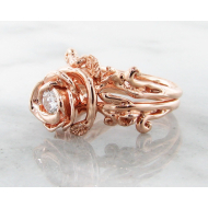 Rose Gold Diamond Wedding Ring Set, Rose Garland