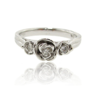 Three Roses Ring, Sterling Silver & Diamond