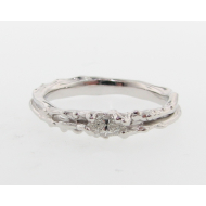 Skinny Melted Band - Sterling & Marquise Diamond