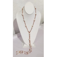 Lariat White Pearl Natural Leather