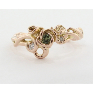 Rose Garden Ring, Green Sapphire Embellished, Rose Gold