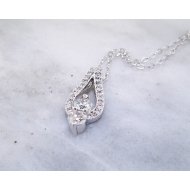 White Gold, Diamond Two Stone Necklace, Stack