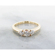Diamond Yellow Gold Ring, 0.51ct, Three Stone