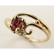 Garnet Yellow Gold Swirling Ring