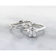 Diamond White Gold Solitaire, Leaf Eternity Band, Emerald Cut