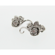 White Gold Diamond Earrings, Rosebud and Vine