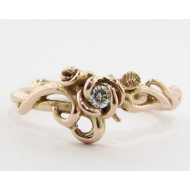 Rose Gold & Moissanite Ring, Rose Garden