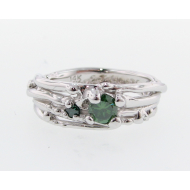Ring Bird's Nest, Green Diamond, 14k White Gold