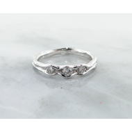 White Gold Diamond Ring, Three Stone Melted Band