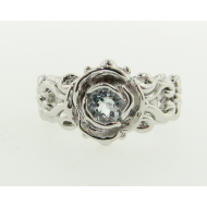 Aquamarine Sterling Silver Ring, Victorian, A la Rose
