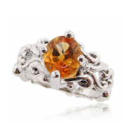 Citrine Silver Ring, Very Victorian