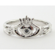 Diamond Claddagh Ring, White Gold
