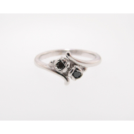 Rosebud 2 Diamond Ring, Black Diamond & Sterling Silver