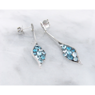 Blue Topaz White Gold Multi-Stone Earrings