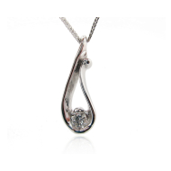 Raindrop Pendant with Moissanite, White Gold