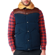 PENFIELD ROCK WOOL LEATHER VEST NAVY