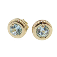 Aqua Earrings, Yellow Gold