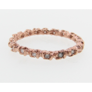 Rosebud & Leaf Band, Rose Gold & Diamond