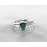 Opal Silver Ring, Vertical, Skinny Melted