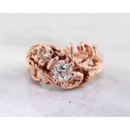 Heirloom Diamond Rose Gold Ring, Swirl
