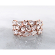 Diamond Rose Gold Ring, VS Rose Cut Mosaic
