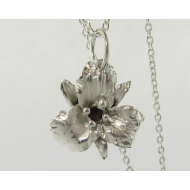 Garnet Trillium Necklace, Sterling Silver
