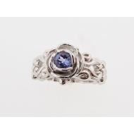 Victorian Ring a la Rose: Tanzanite & Silver