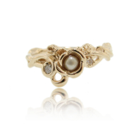 Yellow Gold Golden Pearl Ring, Rose Garden