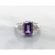 Amethyst Silver Ring, Moissanite, Old Paris