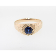 Decorous, Men's Ring in Yellow Gold & Lab Created Sapphire