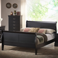 5934/10/12 BLACK QUEEN SLEIGH BED
