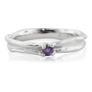 Amethyst Silver Band, Skinny Melted