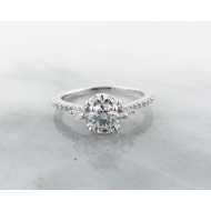 Diamond White Gold Engagement Ring, Crown