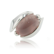 Silver Orbit Ring: Rose Quartz
