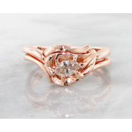 Diamond, Rose Gold Wedding Set, Leaf