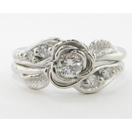 Prize Tea Rose Wedding Set - 14k White Gold & Diamond
