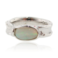 Oval Opal Silver Ring, Melted