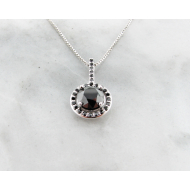 Black Diamond White Gold Necklace, Contemporary